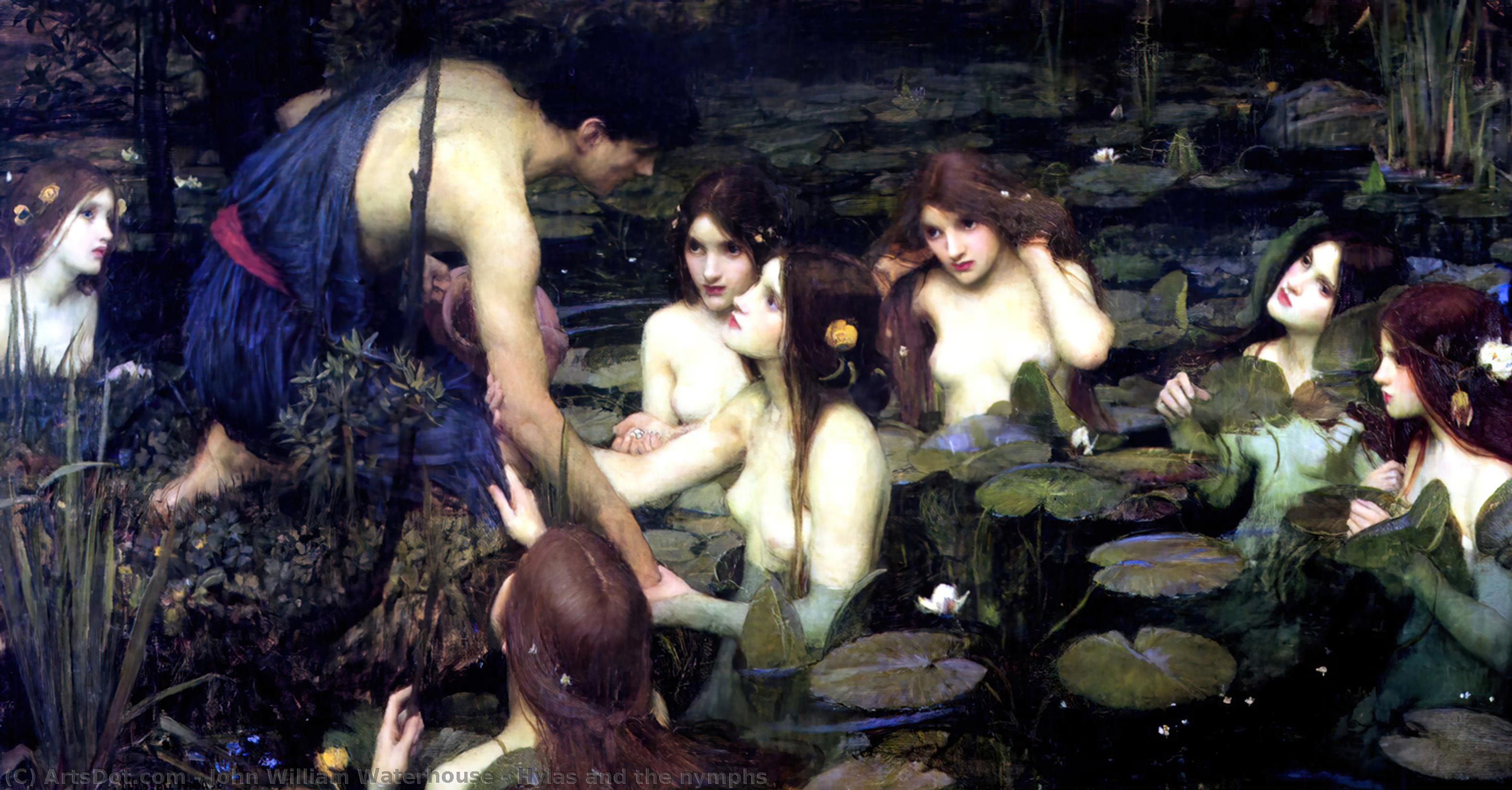 Hylas und die nymphen, 1896 von John William Waterhouse (1849-1917, Italy) | Museumsqualität Prints John William Waterhouse | ArtsDot.com