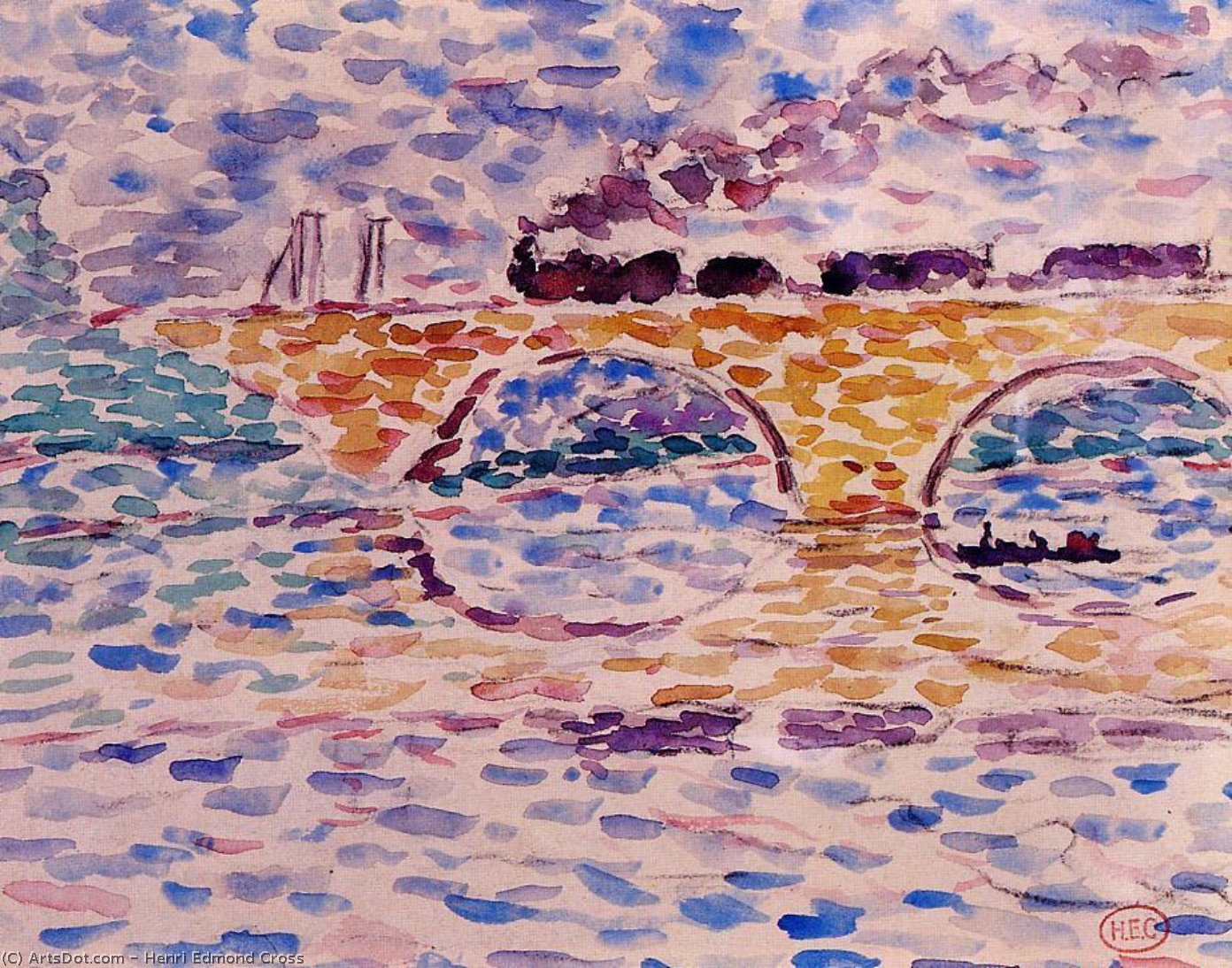 Der Viaduct, Aquarell von Henri Edmond Cross (1856-1910, France)