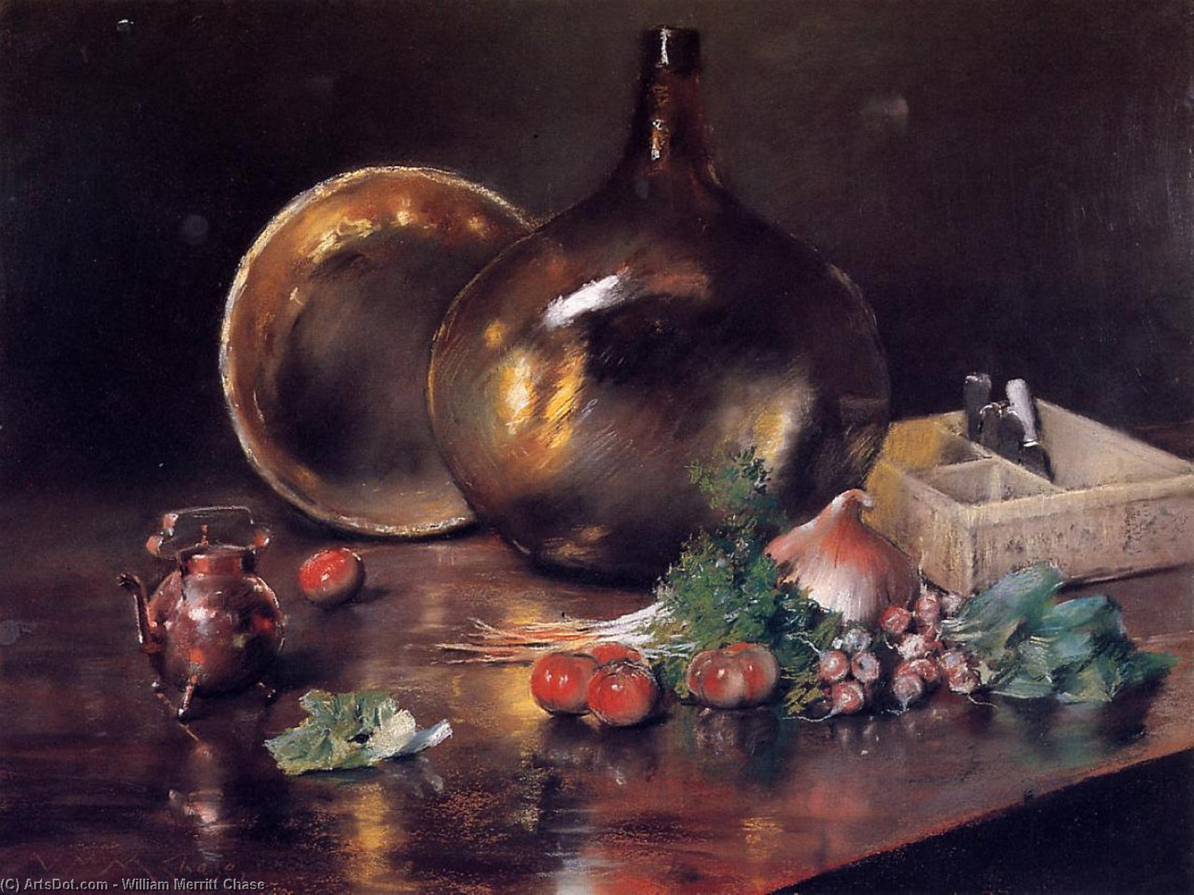 Stilleben -   messing  und  glas , pastell von William Merritt Chase (1849-1916, United States)