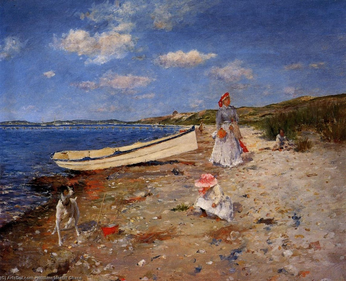A Sunny Day in Shinnecock Bay, öl auf leinwand von William Merritt Chase (1849-1916, United States)