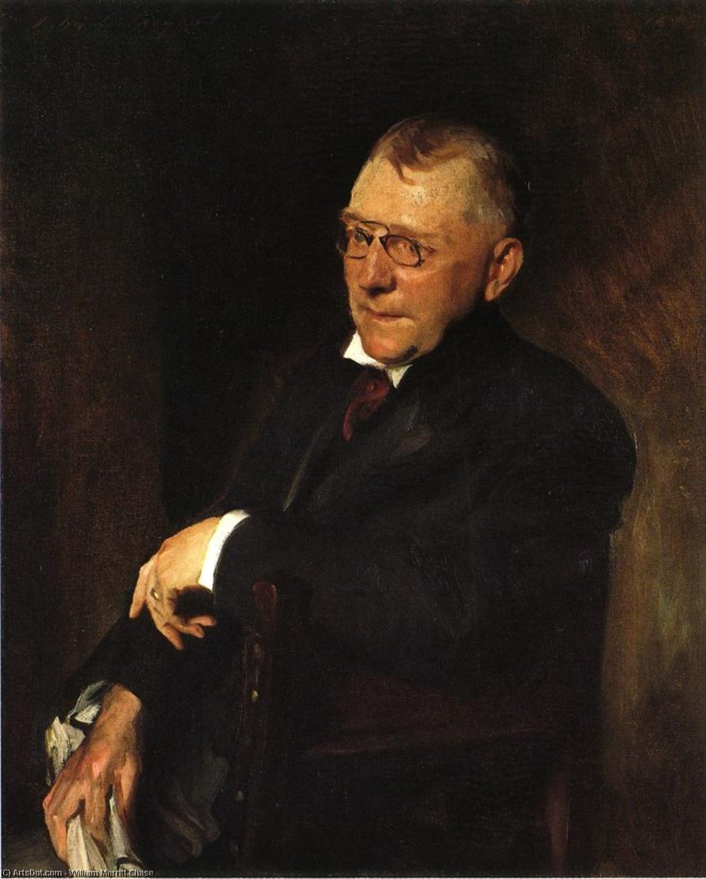 Porträt von James Whitcomb Riley, 1903 von William Merritt Chase (1849-1916, United States) | Malerei Kopie | ArtsDot.com