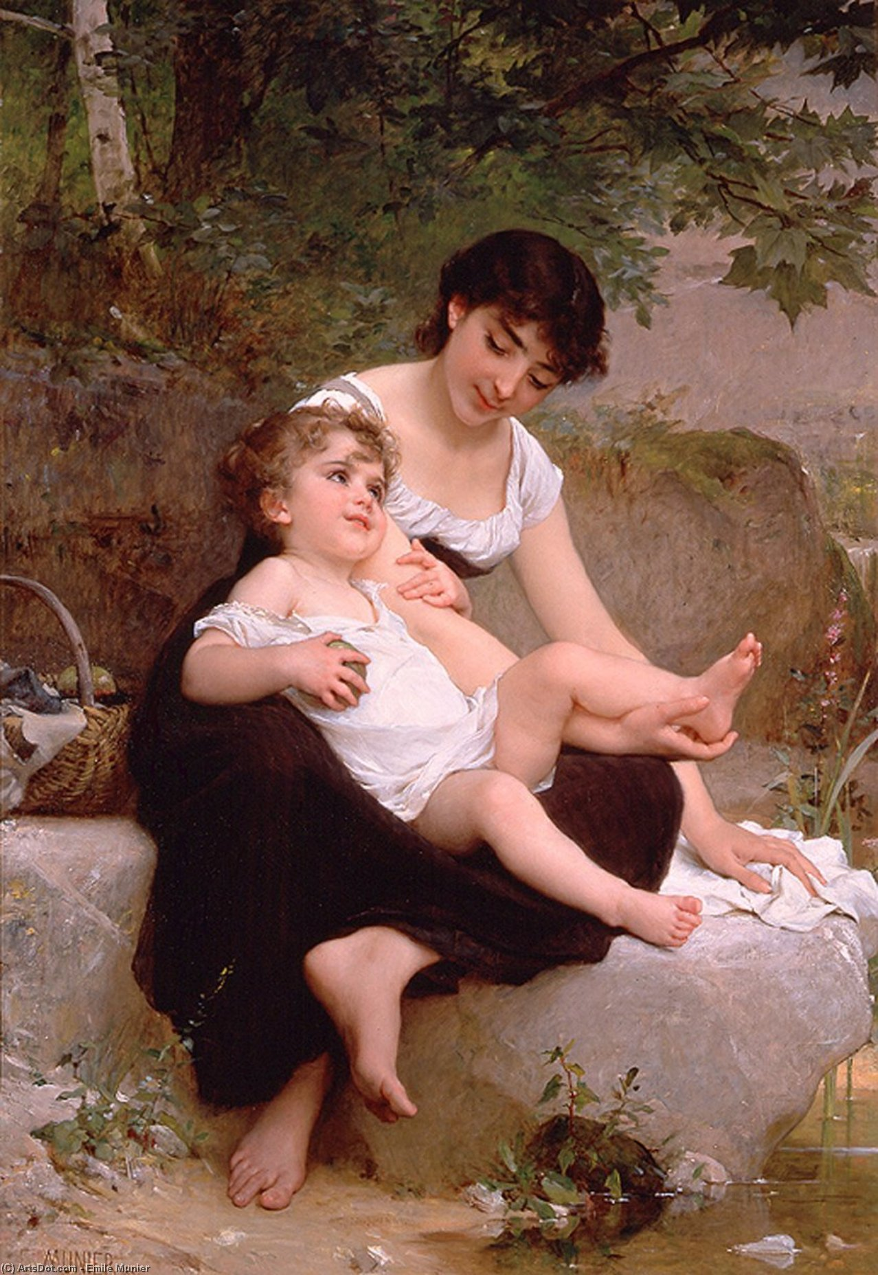 mutter und kind von Emile Munier (1840-1895, France)