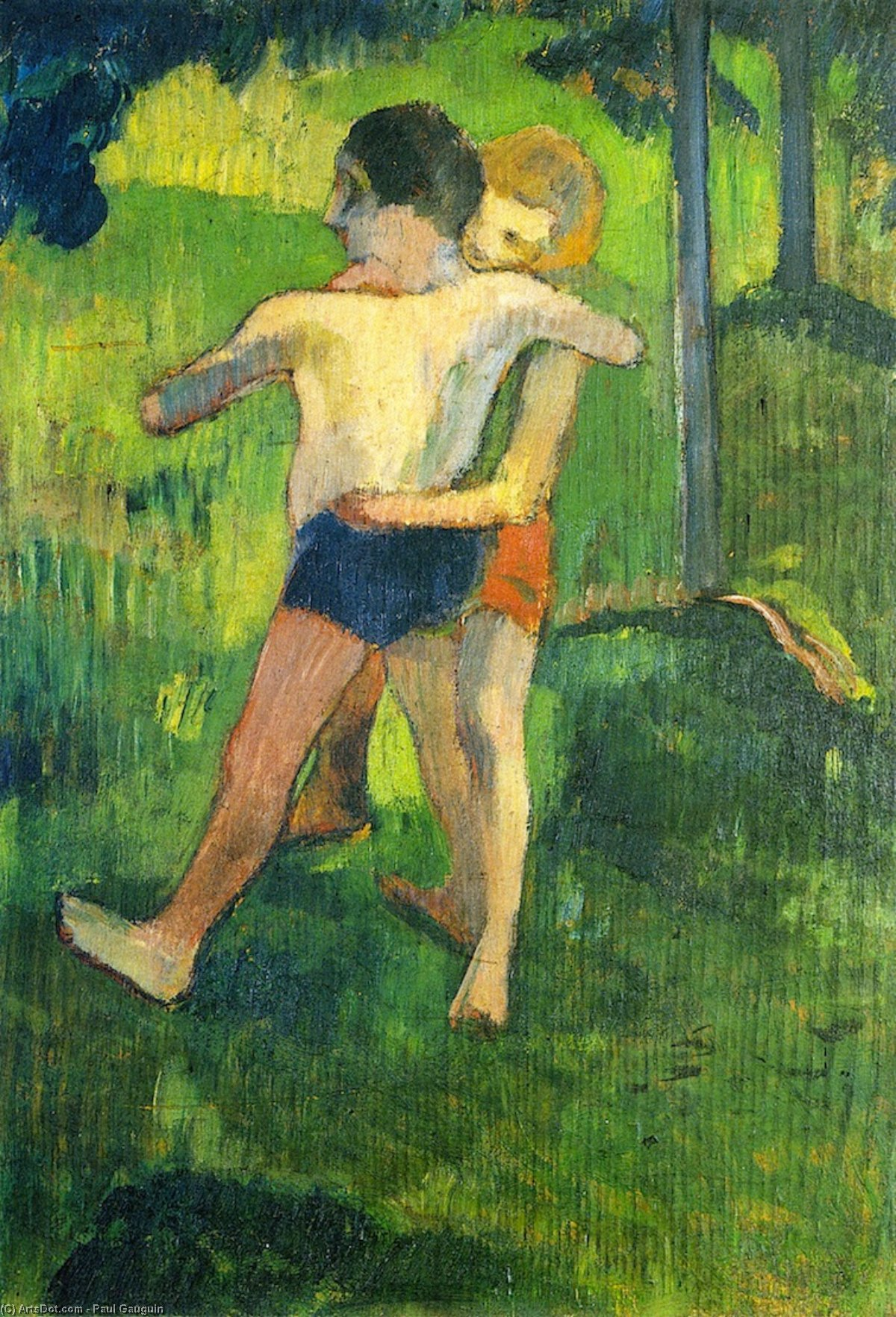 Kinder Wrestling, 1888 von Paul Gauguin (1848-1903, France) | Museumsqualität Prints Paul Gauguin | ArtsDot.com