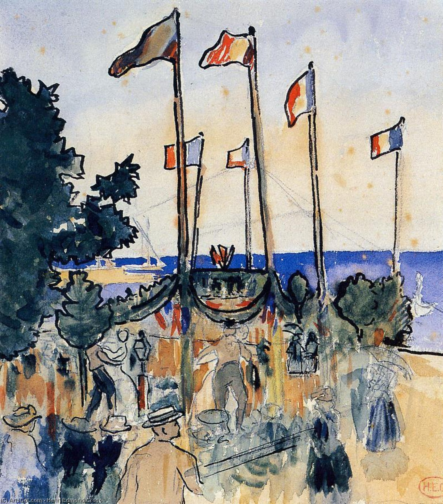 Die Fourth of July by the Sea, Aquarell von Henri Edmond Cross (1856-1910, France)