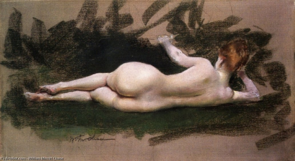 liegender akt, pastell von William Merritt Chase (1849-1916, United States)