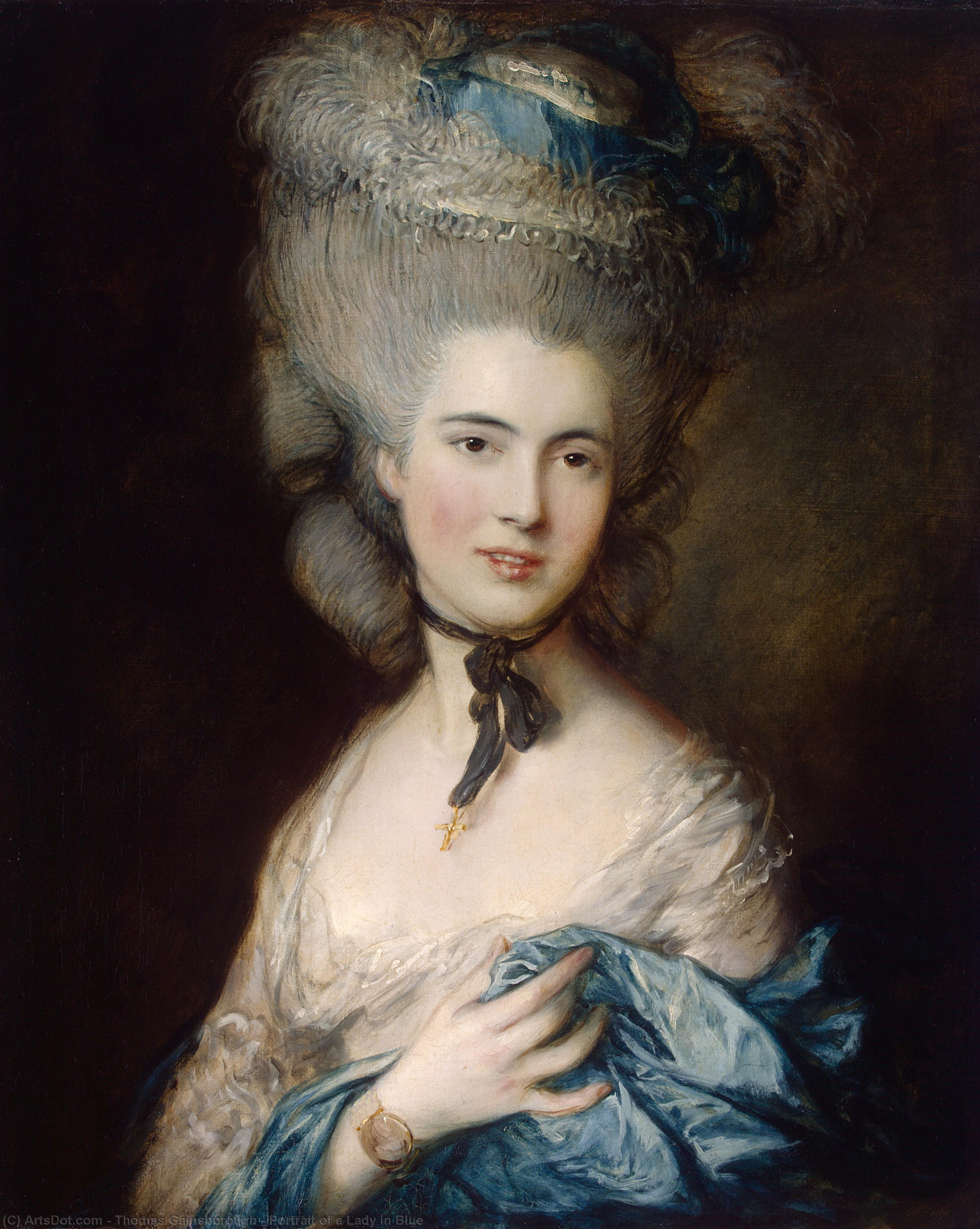 porträt von einem dame in blau, 1779 von Thomas Gainsborough (1727-1788, United Kingdom) | Gemälde Reproduktionen Thomas Gainsborough | ArtsDot.com