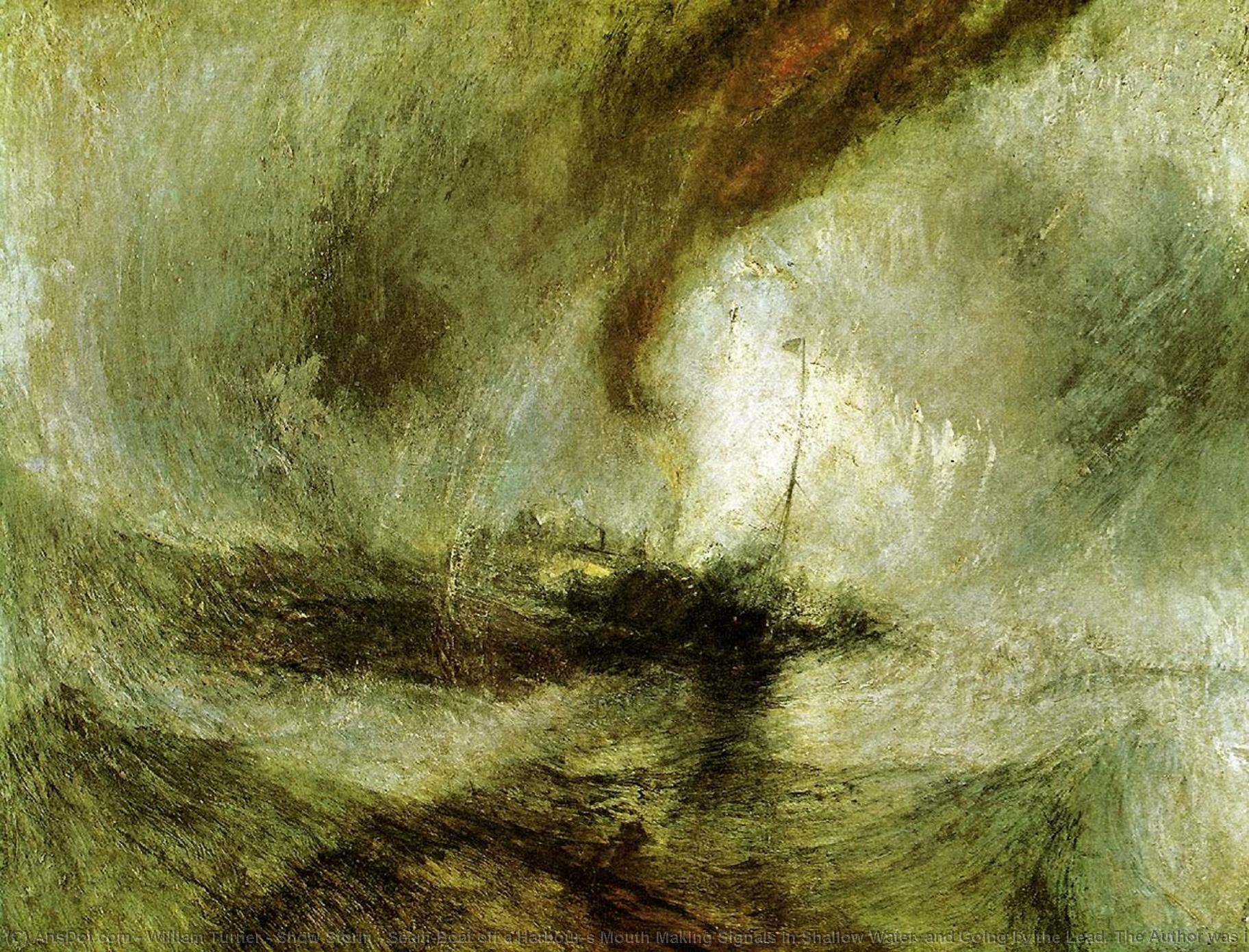 sturm zeigen - Seam-Boat aus a Harbour`s mund, der signale im flachen wasser macht , und an der leine gehen . der autor war in diesem sturm in der nacht, als der ariel harwich verließ, 1842 von William Turner (1775-1851, United Kingdom) | Kunstreproduktionen William Turner | ArtsDot.com