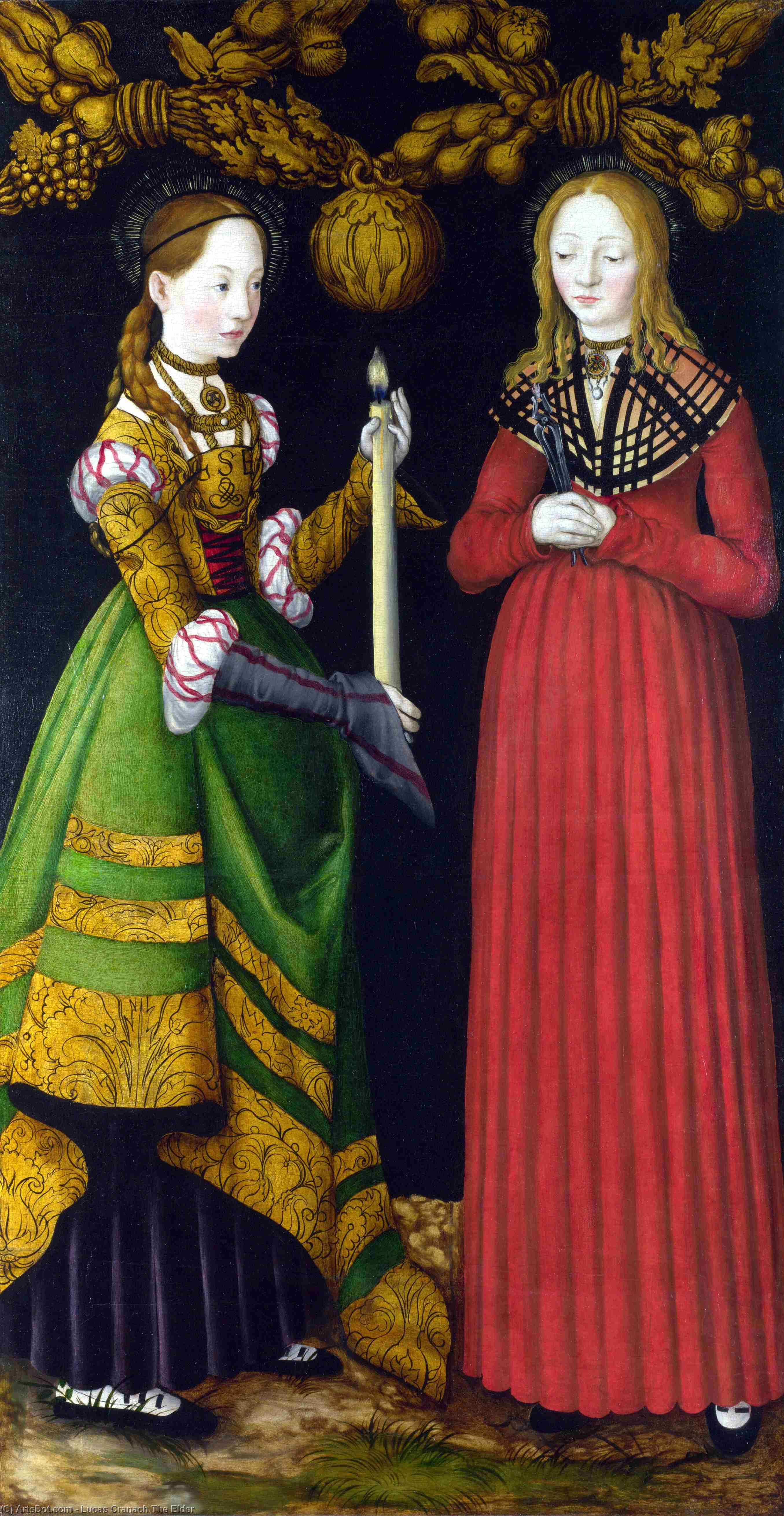 saints genevieve und apollonia von Lucas Cranach The Elder (1472-1553, Germany)