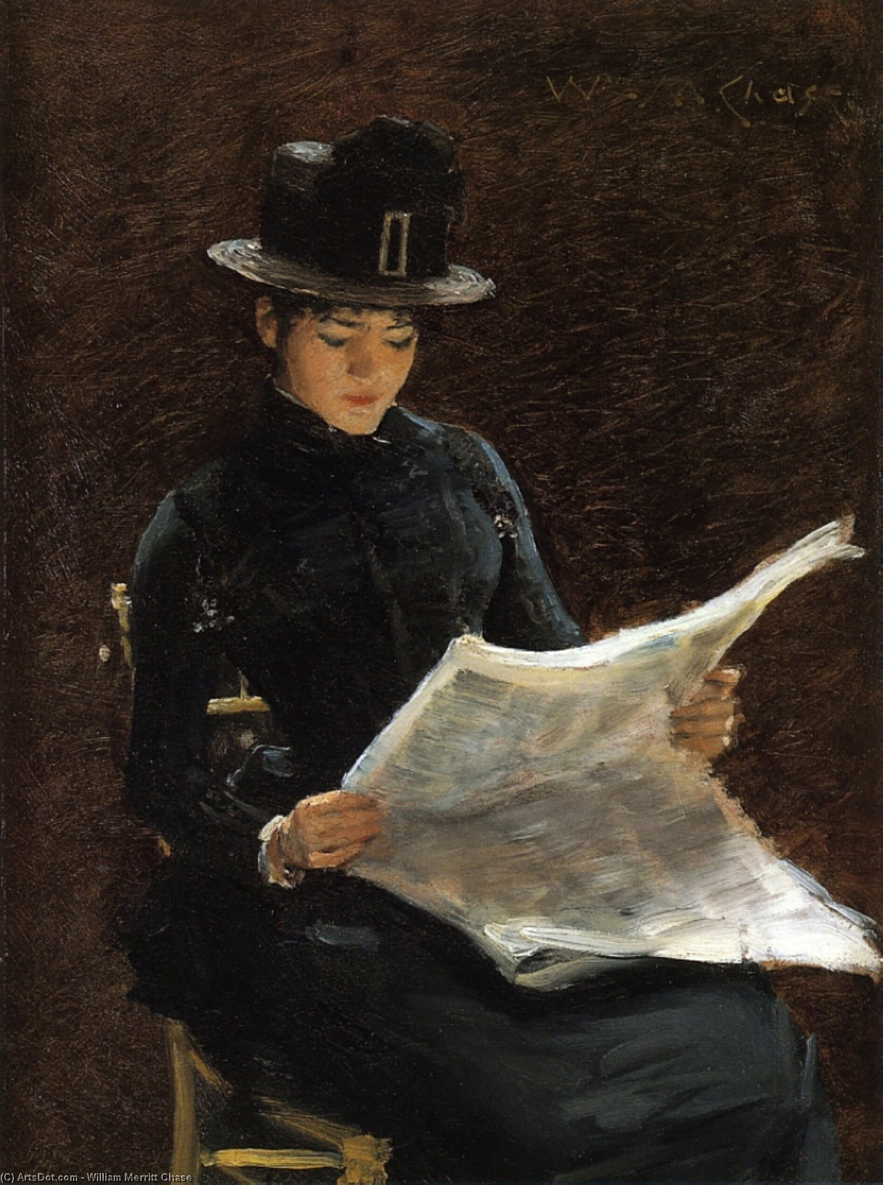 Die Morning News, öl auf tafel von William Merritt Chase (1849-1916, United States)