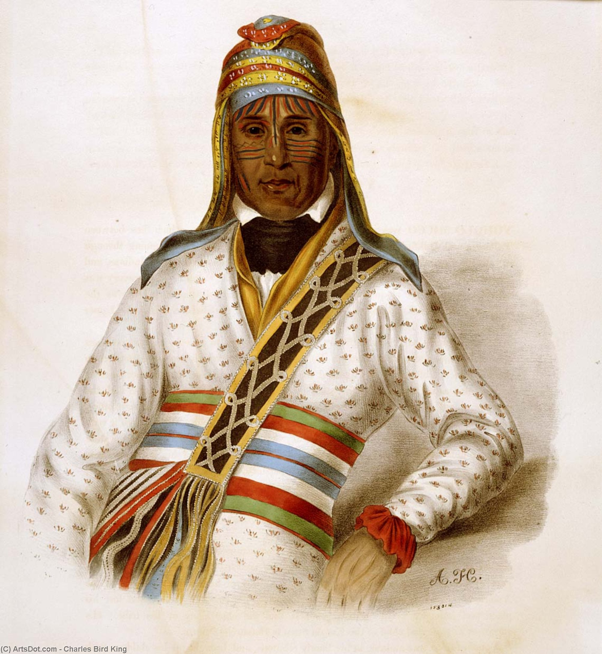 YOHOLO-MICCO . Ein CREEK CHIEF, öl von Charles Bird King (1785-1862, United States)