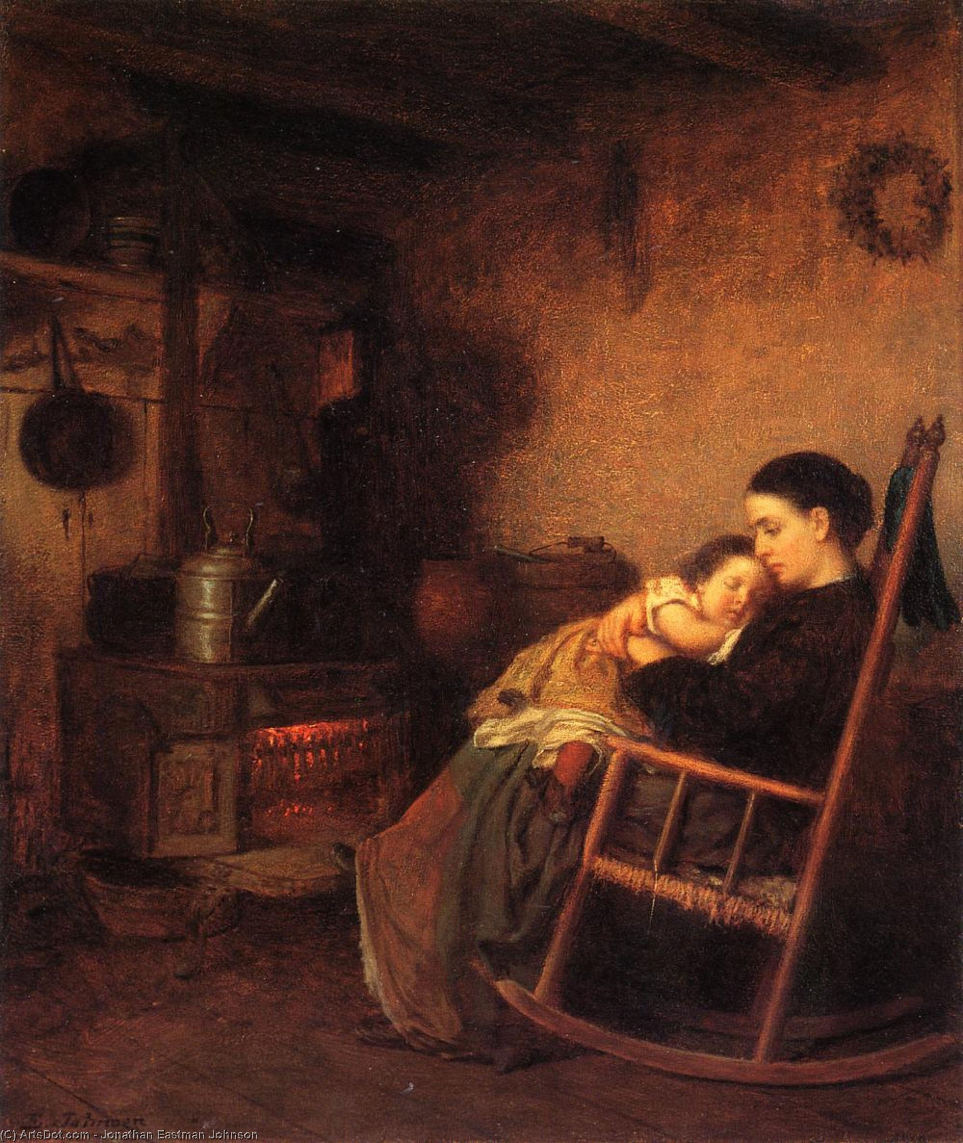 mutter und kind von Jonathan Eastman Johnson (1824-1906, United Kingdom) | Malerei Kopie | ArtsDot.com
