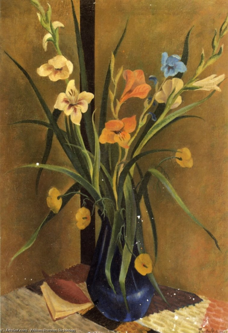 blumen in a vase, öl auf leinwand von William Preston Dickinson (1889-1930, United States)
