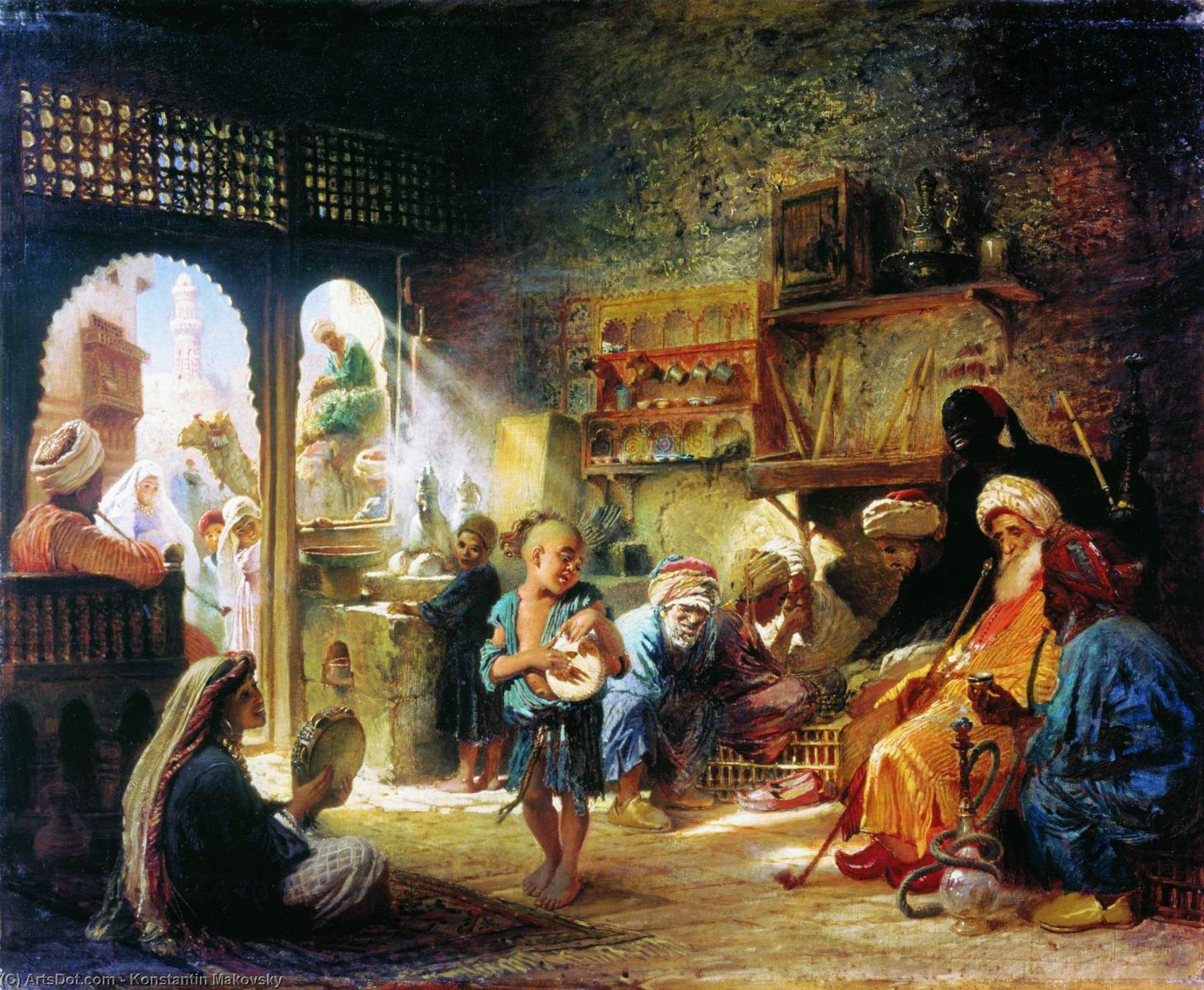 Coffee House in Kairo, öl auf leinwand von Konstantin Makovsky (1839-1915, Russian Empire)