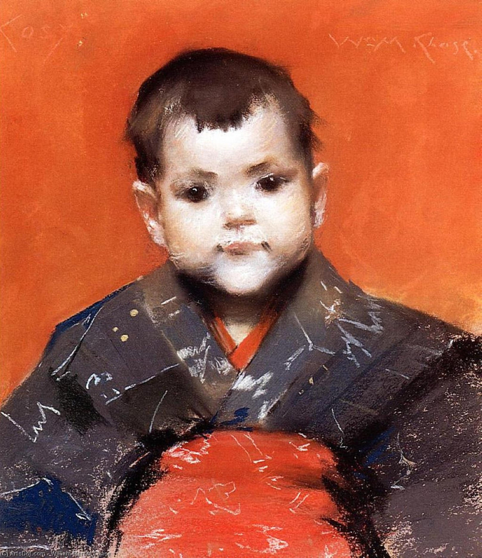 mein baby ( aka Behaglich ), pastell von William Merritt Chase (1849-1916, United States)