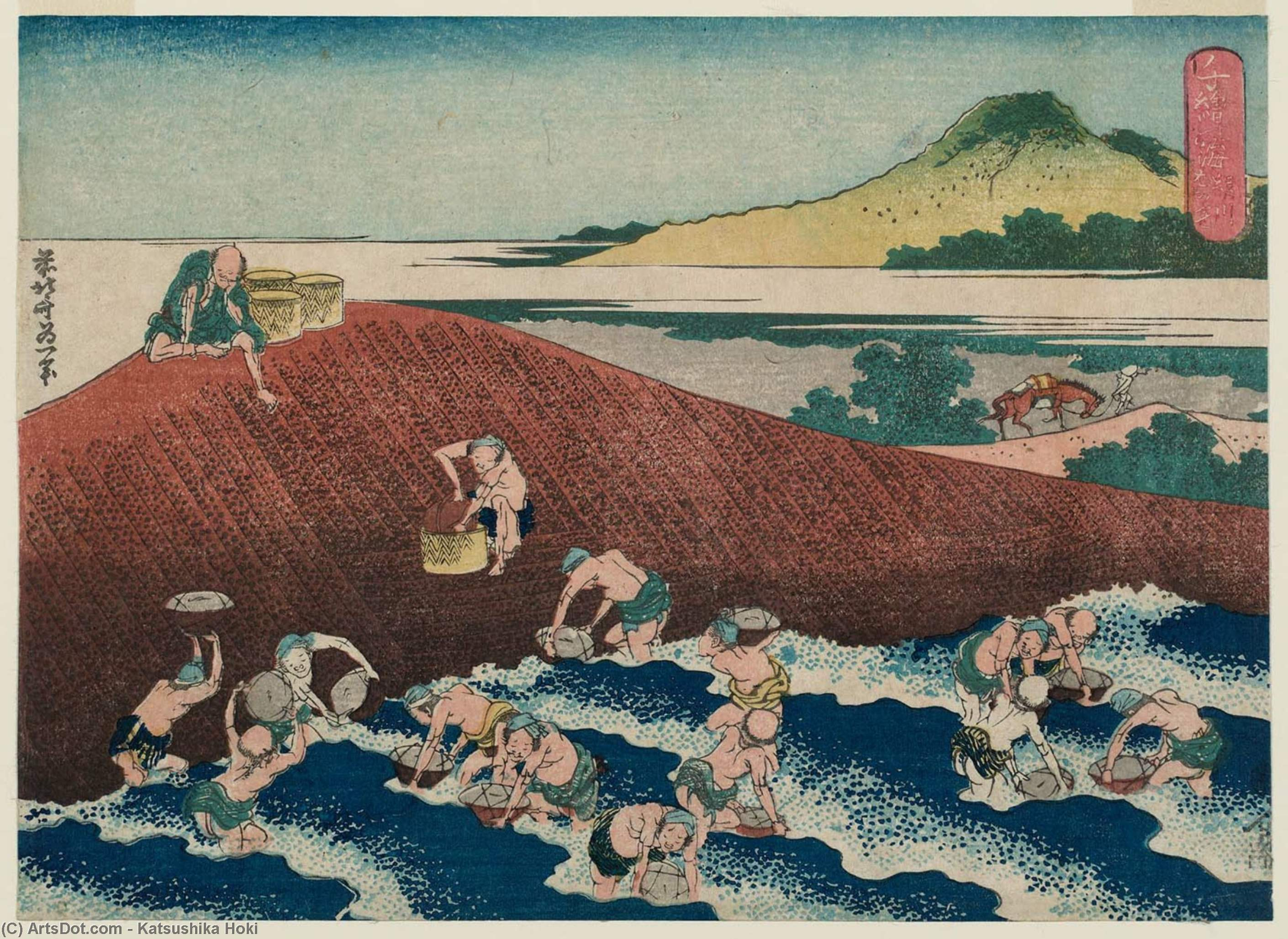 Basket-fishing in der Kinu Fluss von Katsushika Hokusai (1760-1849, Japan)