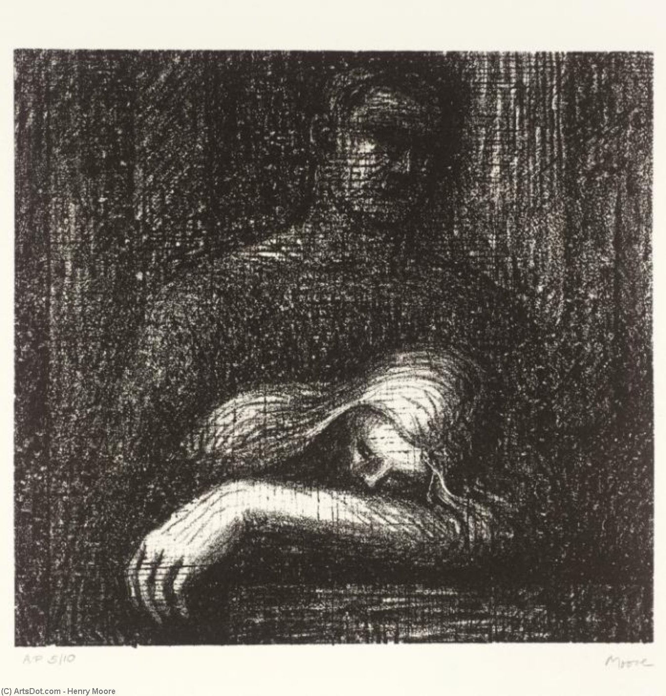 Lullaby Sleeping Leiter, gravieren von Henry Moore (1898-1986, United Kingdom)