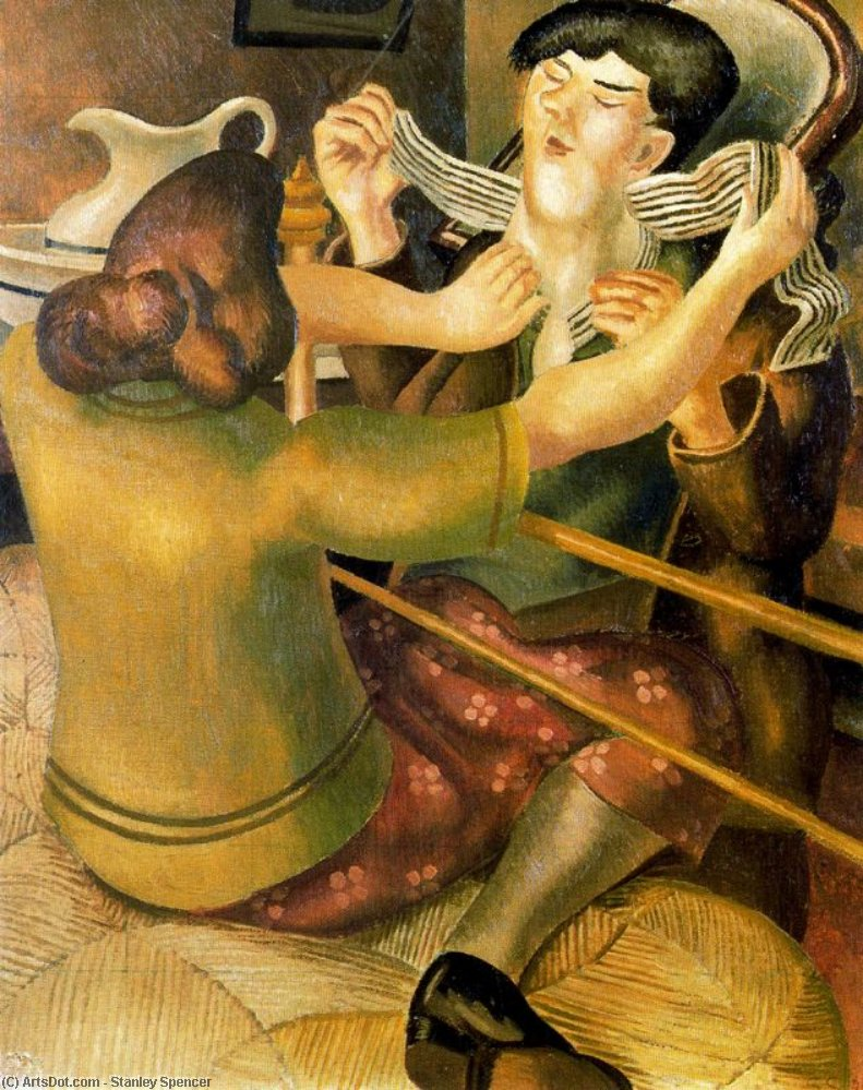 Taking off Halsband oder Knöpfen den Kragen von Stanley Spencer (1891-1959, United Kingdom) | ArtsDot.com