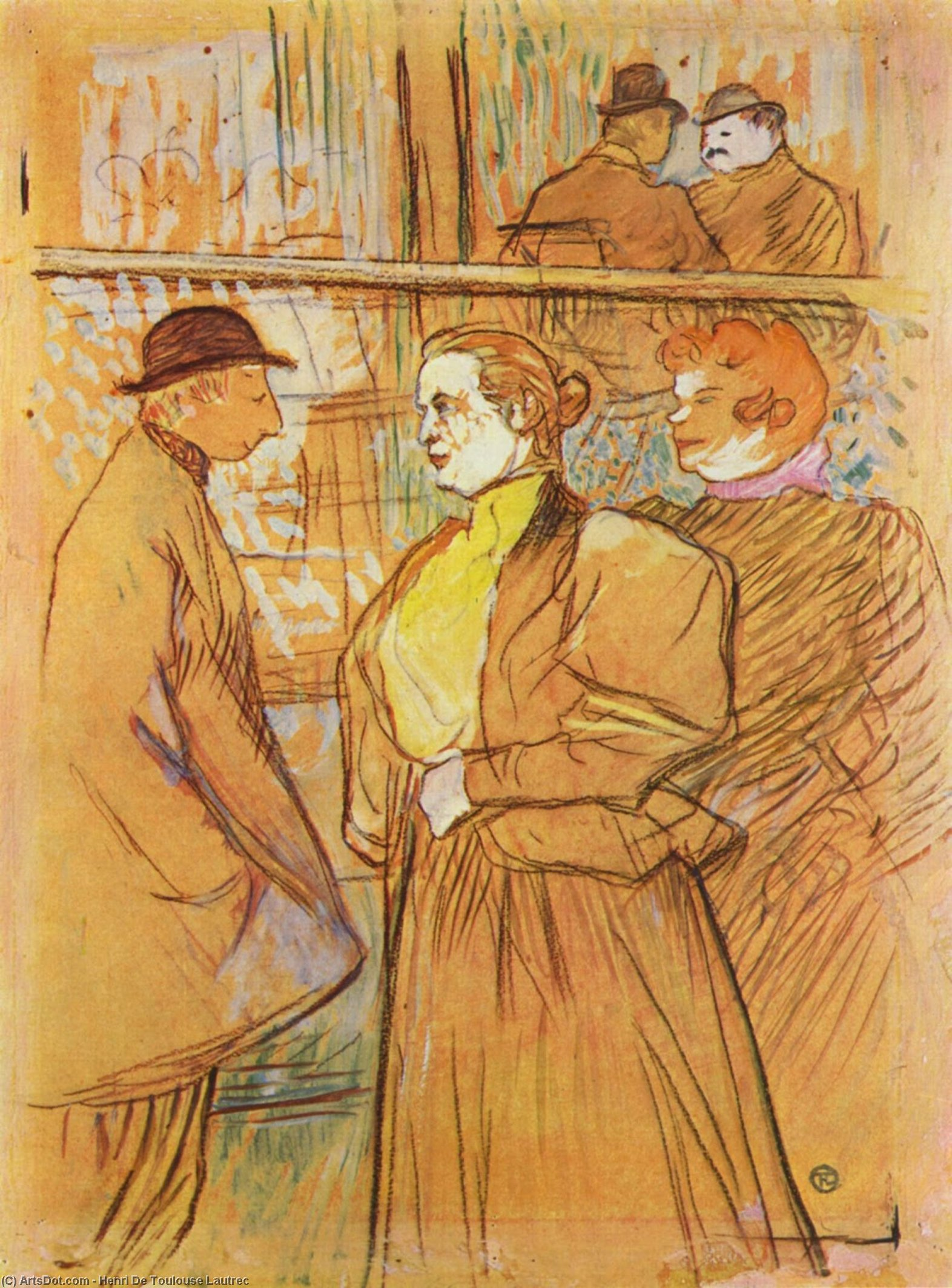 in moulin rouge, pastell von Henri De Toulouse Lautrec (1864-1901, France)
