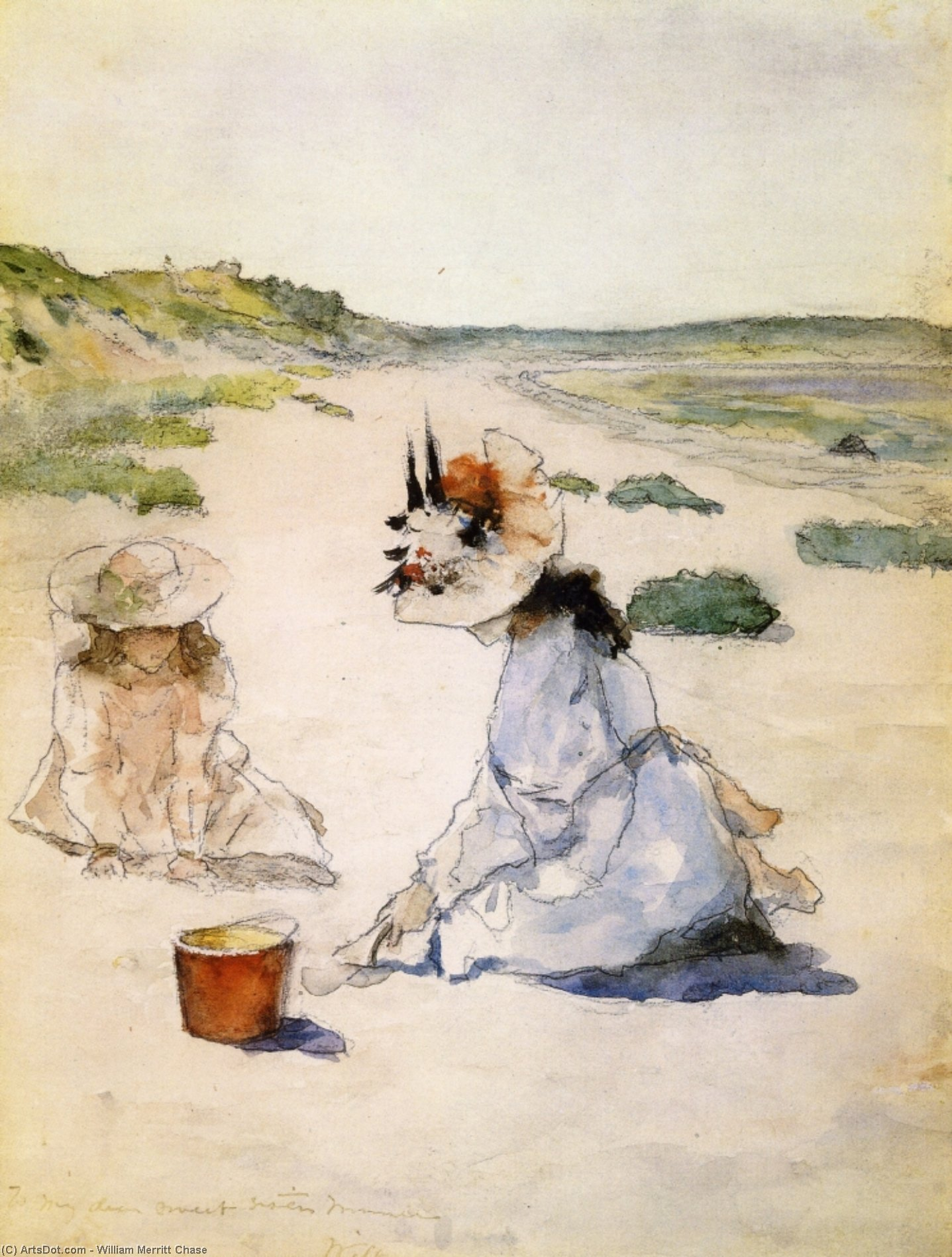 direkt am strand , Shinnecock, Aquarell von William Merritt Chase (1849-1916, United States)