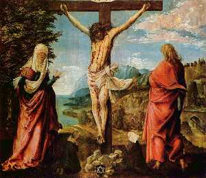 Albrecht Altdorfer - Crucifixion scene ,  Christ on das kreuz with Mary und john