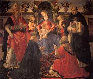 Domenico Ghirlandaio - Madonna und Kind inthronisiert..