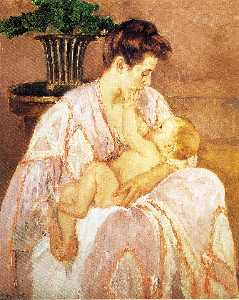 Mary Stevenson Cassatt - jung mutter Pflege  ihr  Kind