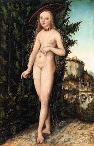 Lucas Cranach The Elder - venus stehend in ein landschaf..