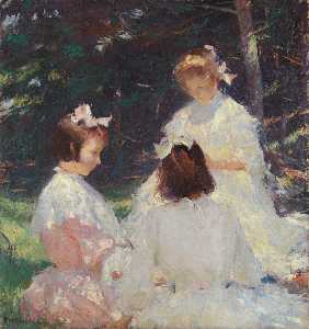 Frank Weston Benson - kinder in wald