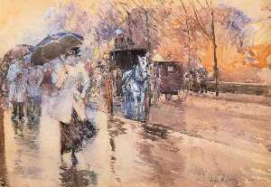 Frederick Childe Hassam - Rainy Day auf der Fifth A..