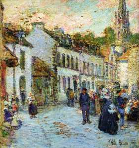 Frederick Childe Hassam - straße in pont-aven  -   abend