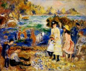 Pierre-Auguste Renoir - kinder am meer in guernsey
