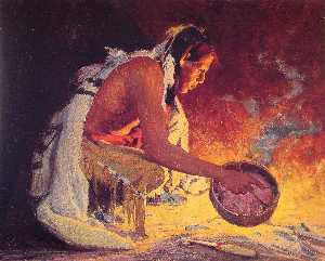 Eanger Irving Couse - Indian von Firelight