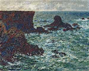 Claude Monet - Rocks in Port Coton der  Löwe  Fels