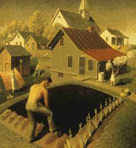 Grant Wood - frühling in stadt