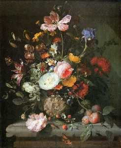 Jacob Van Walscapelle - Blumen in einer steinvase