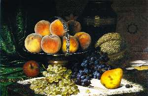 William Mason Brown - stillleben mit melone , Pfirsi..