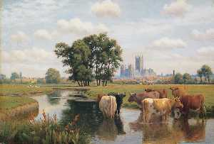 William Sidney Cooper - Canterbury kathedrale von die stour Wiesen , Kent