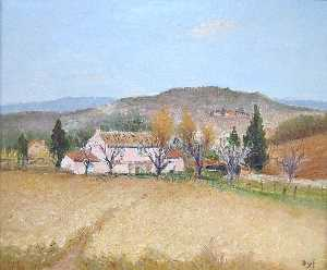 Marcel Dyf - Rosa haus in provence