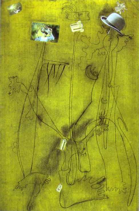 Drawing-Collage mit einem Hut, 1933 von Joan Miro (1893-1937, Spain) | Kunstreproduktionen Joan Miro | ArtsDot.com