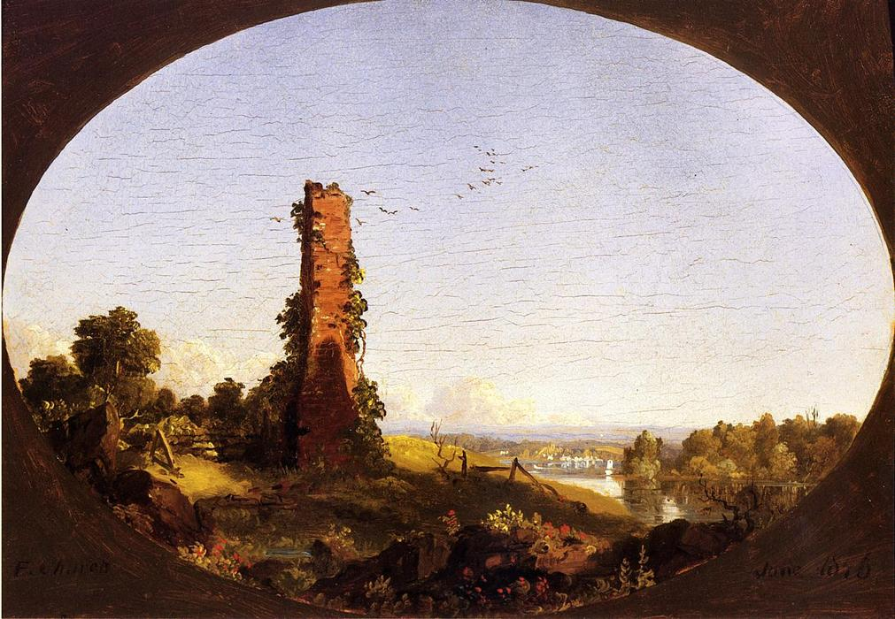 New England Landschaft mit Ruined Chimney, 1846 von Frederic Edwin Church (1826-1900, United States) | Museumsqualität Prints Frederic Edwin Church | ArtsDot.com