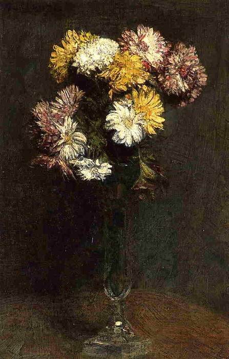 Chrysanthemen 2, öl von Henri Fantin Latour (1836-1904, France)