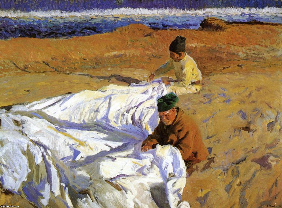 Mending the Sail 1, öl von Joaquin Sorolla Y Bastida (1863-1923, Spain)