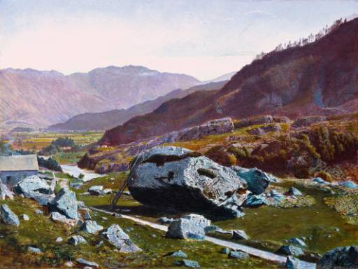 Bowder Stein, Borrowdale, 1870 von John Atkinson Grimshaw (1836-1893, United Kingdom)