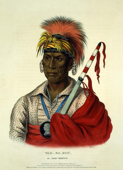 TEH-RO-HON, AN Ioway WARRIOR, öl von Charles Bird King (1785-1862, United States)