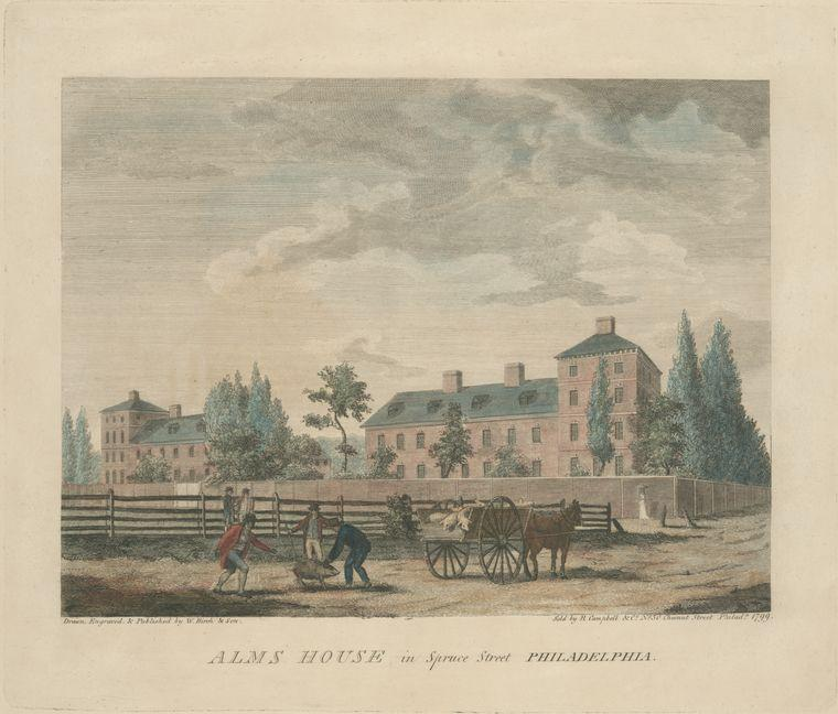 Alms Haus in Spruce Street Philadelphia, öl von Thomas Birch (1779-1851, United Kingdom)
