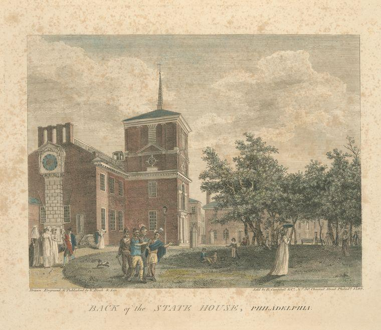 Rücken of der staat haus , Philadelphia von Thomas Birch (1779-1851, United Kingdom) | Museum Kunstreproduktionen | ArtsDot.com