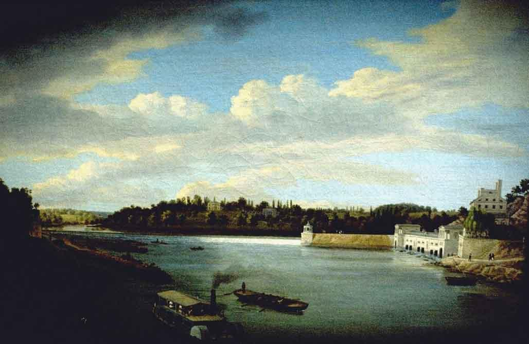 Fairmount Waterworks, öl von Thomas Birch (1779-1851, United Kingdom)