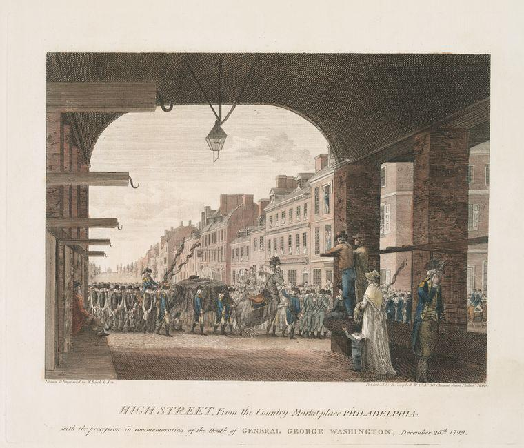 hohe straße , aus dem land markt philadelphia . mit der prozession in gedenken an den tod von general george washington 1, öl von Thomas Birch (1779-1851, United Kingdom)