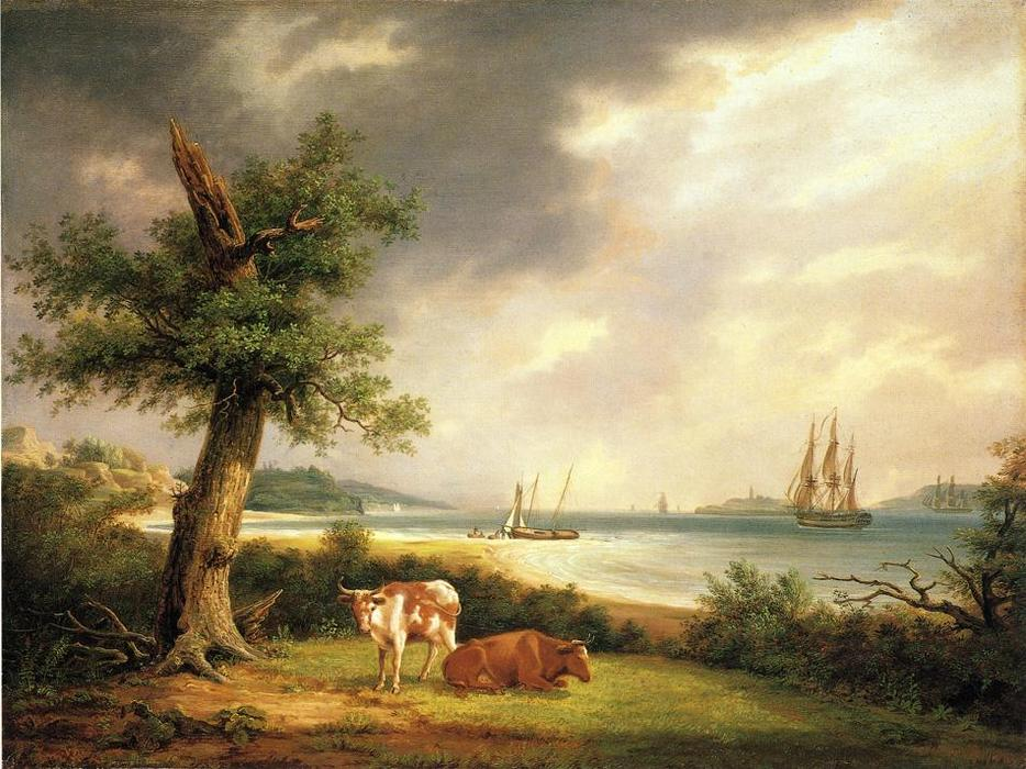 The Narrows, New York Bay, öl auf tafel von Thomas Birch (1779-1851, United Kingdom)