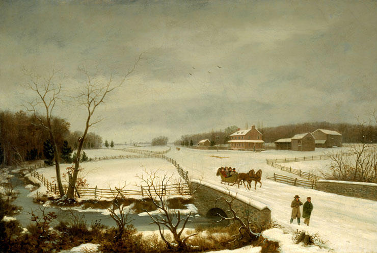 winter szene, öl von Thomas Birch (1779-1851, United Kingdom)